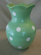 Light Green with White Polka Dots Scalloped Edge Flower Vase from Hallmark - $29.69