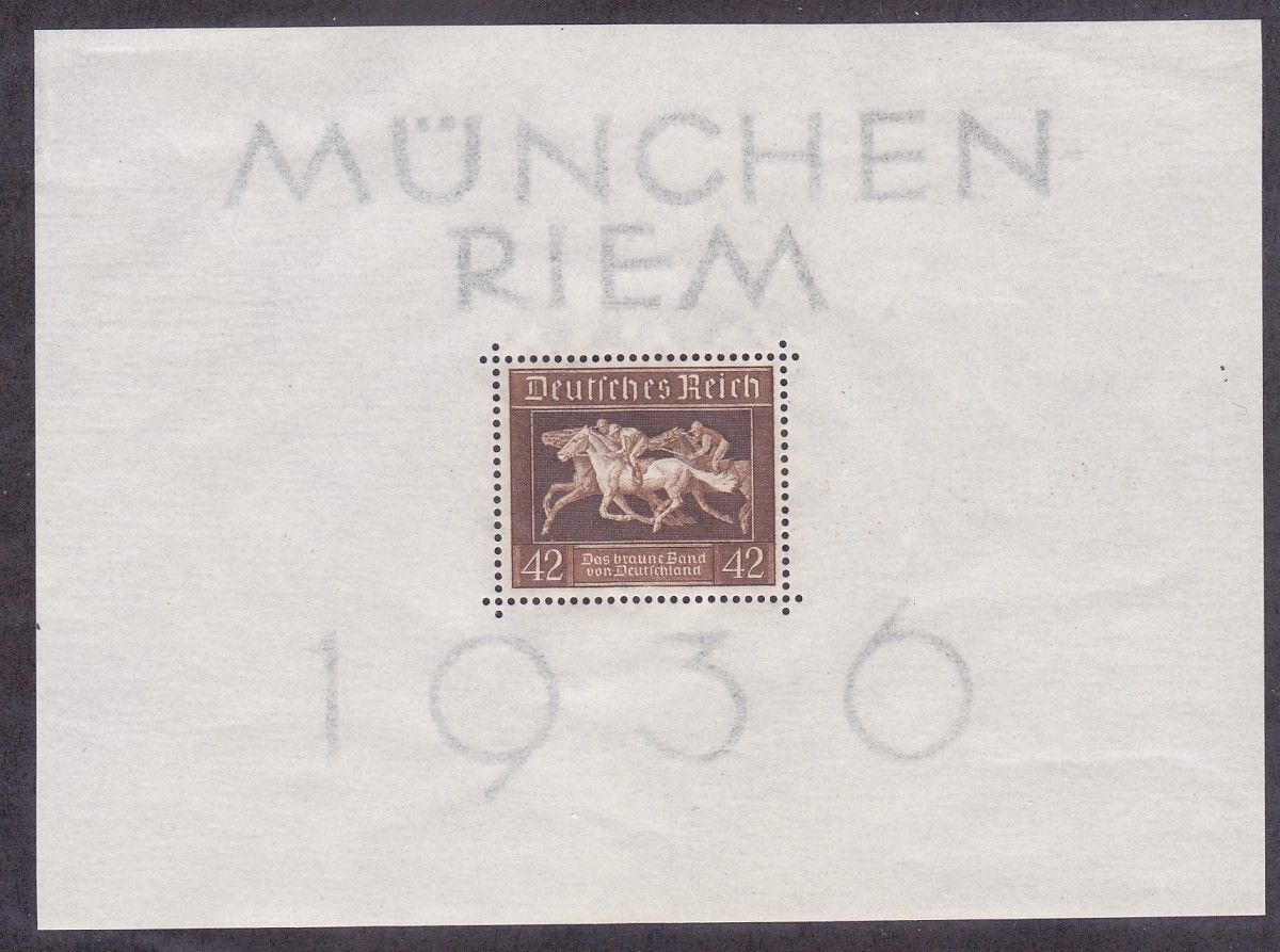 1936 Horse Racing Germany Souvenir Sheet Catalog No B90 SS Mint Never Hinged