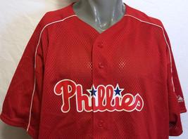 VTG Philadelphia Phillies Red Majestic Mesh Baseball Jersey Sz 2X MLB Ph... - $54.69