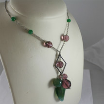 .925 RHODIUM SILVER NECKLACE, GREEN JADE AND FACETED PURPLE CRYSTALS. image 1