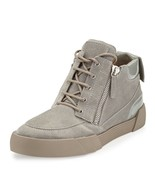 Giuseppe Zanotti Mens Gray Foxy London Suede Patent Leather Mid-Top Snea... - $375.00