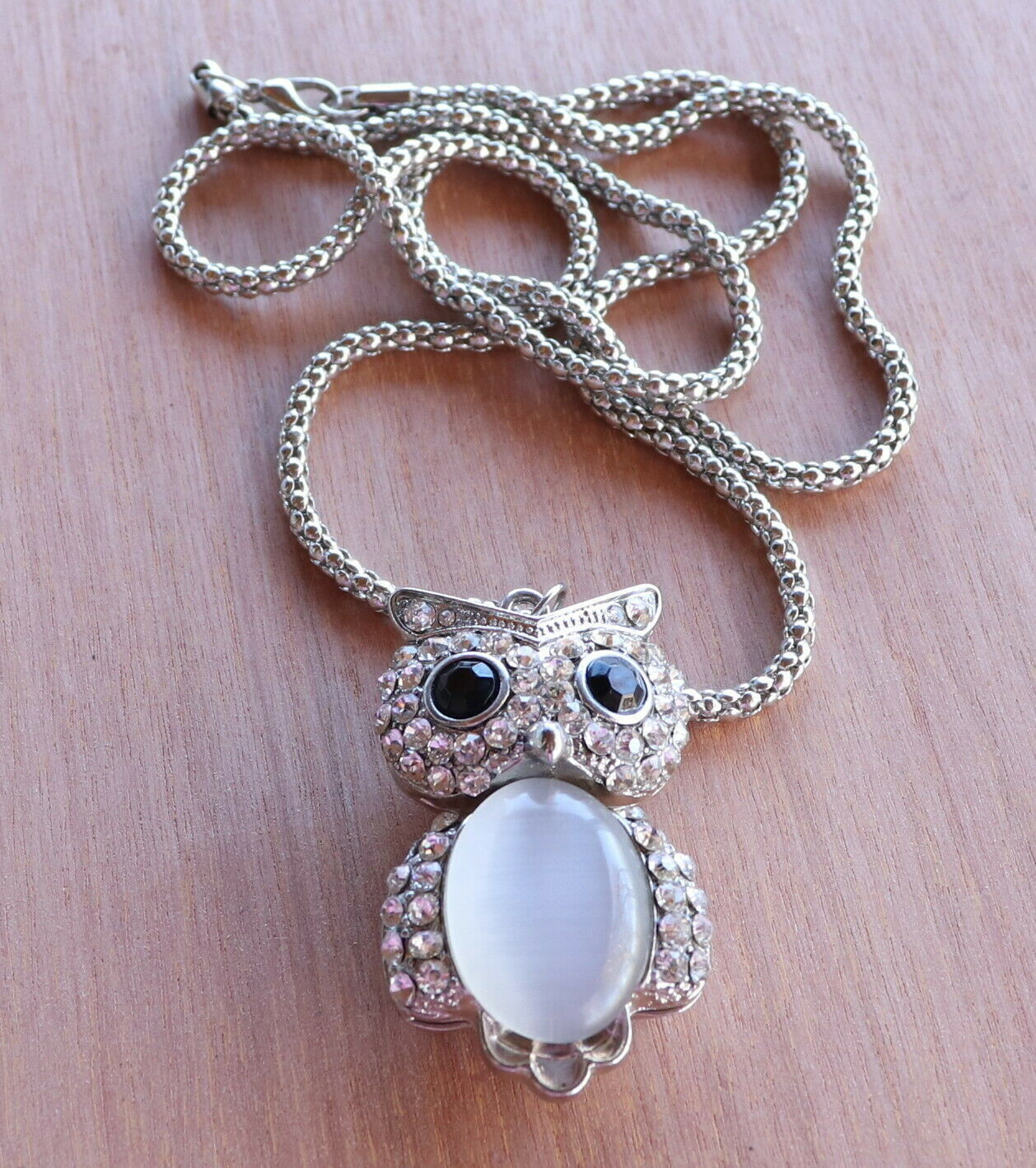Primary image for Vintage Silver Tone Owl Necklace White Fiber Optic and Clear Rhinestones