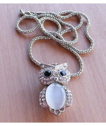 Vintage Silver Tone Owl Necklace White Fiber Optic and Clear Rhinestones - $19.99