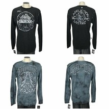 Affliction Men Size S Reversible Long Sleeve Thermal Shirt Causeway Chalkboard  - $48.45