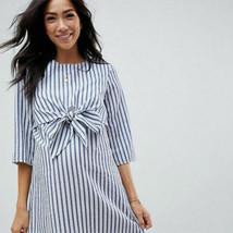 Women's Asos Size 4 Small Blue White Stripe Maternity Nursing Dress Bow ... - $29.39