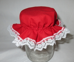 2 Red Jar Cover Bonnet w/h white lace,Cloth reusable,slip on/off, Mason ... - $7.00