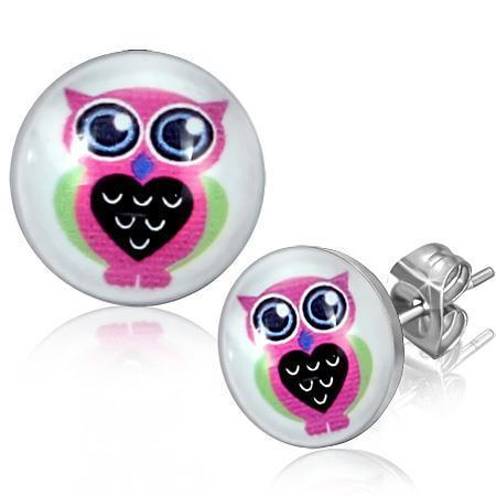 Primary image for Pair of Stainless Steel Circle Round Earrings Studs Pink Owl
