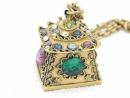 RARE CROWN TRIFARI Rhinestone Pagoda Pendant Necklace MUST SEE! - $346.50