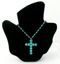 """Cc Logo Tag Beaded 2"""" Cross Turquoise Color Silvertone Necklace - $3.95"""