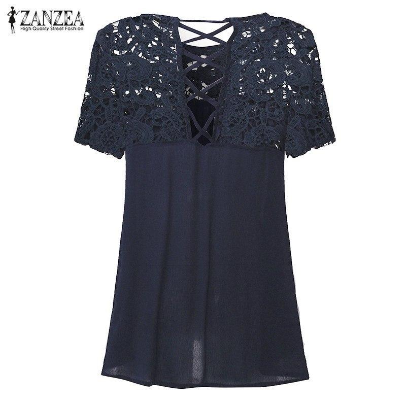 2018 ZANZEA Women Tops Lace Splice Blouses Shirt Elegant O Neck Short Sleeve Hol