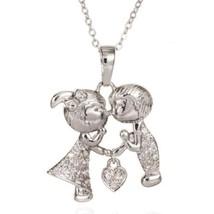 Wedding Lovers Heart Pendant Gold Platinum Galvanized Austrian Zircon   ... - $12.86