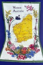 Vintage Western Australia Kitchen Dish Tea Towel Map Floral Linen Blend ... - $14.74