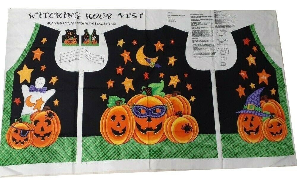 Daisy Kingdom Halloween Witching Hour Vest Size Small- XL Fabric Panel - $9.69