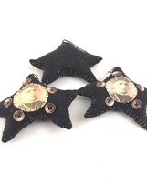 lot of 3 Primitive Star Victorian Women blanket stitch felt ornaments ha... - $30.00