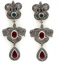 Victorian 2.50ct Rose Cut Diamond Ruby Emerald Women's Earrings Christma... - $702.80