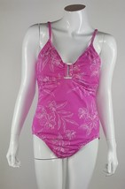 Liz Claiborne Women Size 14 Pink White Floral One Piece Swimsuit Nylon Blend EUC - $7.69