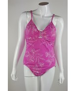 Liz Claiborne Women Size 14 Pink White Floral One Piece Swimsuit Nylon B... - $7.69