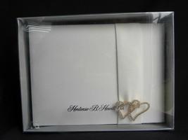 Hortense B. Hewitt Co Ivory Bridal Wedding Guest Book w/Rhinestone Heart... - $13.99