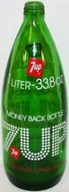 Vintage soda pop bottle 7 UP green glass 1 Liter 33.8oz size n-mint cond... - $8.99