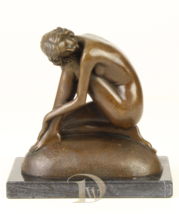Antique Home Decor Bronze Sculpture shows abstract dreamy woman, signed*Free Air - $239.00