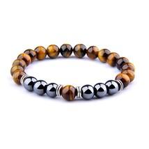 Natural Tiger Eye Beads Bracelet For Women Health Care Hematite Stretch Bracelet - $17.16