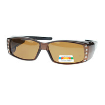 Womens Polarized Fit Over Glasses Sunglasses Rhinestones Rectangle - £10.68 GBP+