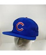 Vintage Chicago Cubs Snapback Trucker Blue Cap Green Brim Hat Adjustable - $34.60