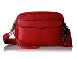NWT $245 Rebecca Minkoff Red Silver Studded BRYN Camera Bag Handbag HU17... - $175.99