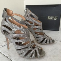 Badgley Mischka Taylar Platino Metallic Suede Leather Women's Heels Sand... - $292.05