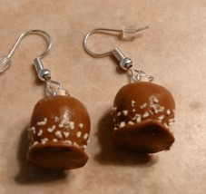 Delicious Caramel Apple Charm Earrings Silver Wire Fall Clay Fruit Apple... - $6.00