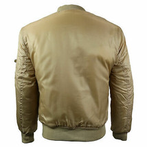 Men's Beige Premium Multi Pocket Padded Zip Up Flight Bomber Jacket w/Defect image 2