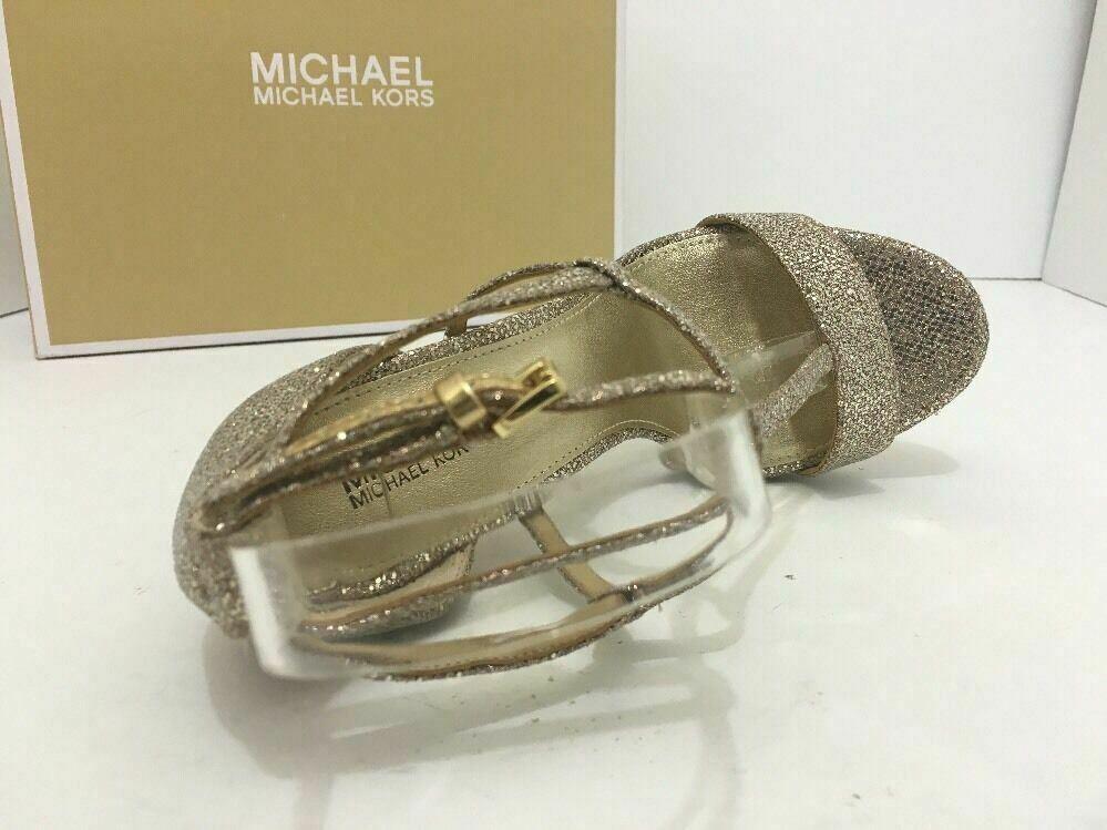 Michael Kors Simone Women's Evening High Heels Sandals Silver Sand Glitter 7 M image 8