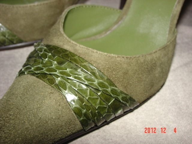RSVP Mules - Olive Suede with Snake Skin - 7M - 3 1/2 in. heel - FREE SHIPPING