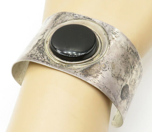 925 Sterling Silver - Vintage Round Black Onyx Wide Cuff Bracelet - B5041 image 1