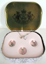New Authentic JUICY COUTURE Mini Charm Necklace in Gift Tin Hearts Ribbo... - $39.59