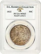 1832 50c PCGS MS63 (Small Letters) ex: D.L. Hansen - Bust Half Dollar - $3,133.10