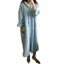 New Full Casual Turn-Down Collar Asymmetrical Loose Fashion Mid-Calf Women Dress - $34.99