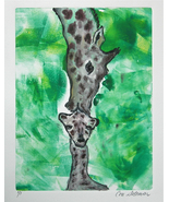 Giraffe Art Wildlife Animal Monotype Hand Pulled Print Solom - $45.00