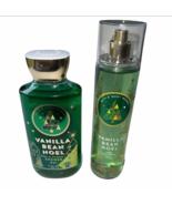 Bath & Body Works VANILLA BEAN NOEL Lot Fragrance Body Mist & Shower Gel Set - $25.99