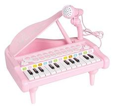 World Distributions Kids Grand Piano with Microphone Melody Recorder Play Toy Mu