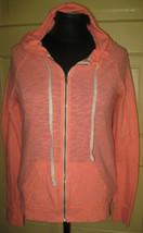 AMERICAN EAGLE Girl's Bright Coral Zip Front Hooded Sweatshirt Hoodie S - $9.49