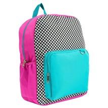 "NEW Yoobi 17"" Checker Color Block Multi-Color Backpack image 2"