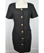 Ross Mayer Black Cocktail Dress With Gold Buttons, pockets, Size 12, %10... - $33.83