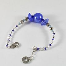 Bracelet Antica Murrina Venezia with Murano Glass Discs Spheres Blue Adjustable image 3