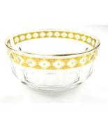 Arcoroc 22K Gold Gilt Valencia France Crystal Bowl Green Diamonds Vintage - $14.49