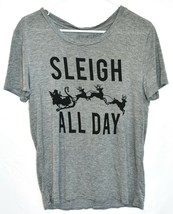 """Fifth Sun Women's """"Sleigh All Day"""" Gray Crew Neck T-Shirt Size XS image 1"""
