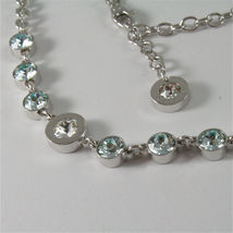WHITE GOLD PLATED BRONZE REBECCA TENNIS NECKLACE BPBKBL54 MADE IN ITALY 15.75 IN image 3