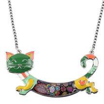 Bonsny Cute Happy Enamel Ladies Cat Themed Necklace / Choker image 8