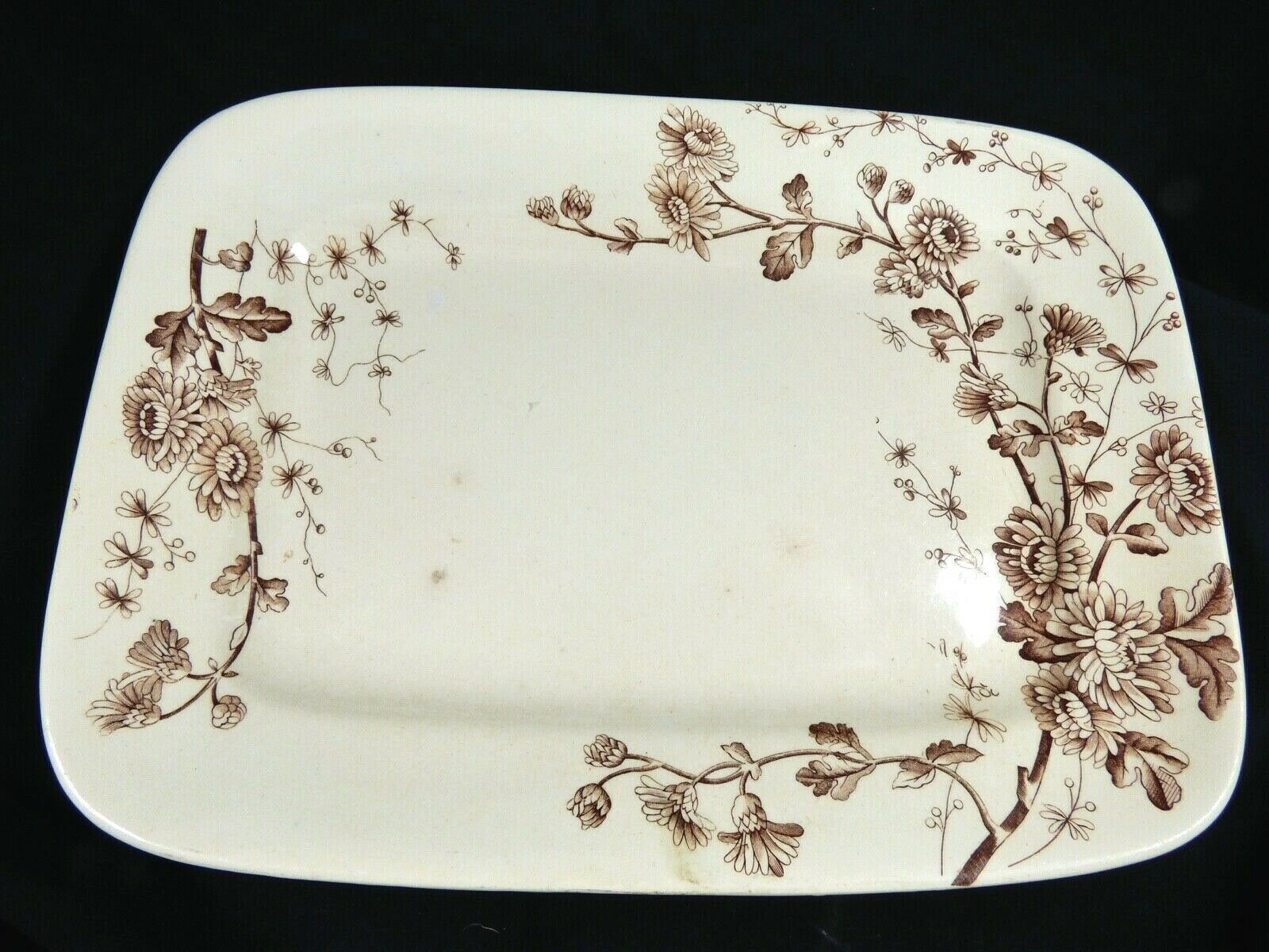 Primary image for VTG ANTIQUE W H GRINDLEY & CO TUNSTALL SPRING BROWN FLORAL PATTERN PLATTER