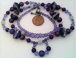 Art Glass Amethyst Gemstone Necklace - $27.25